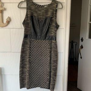 Tracy Reese tweed & leather mini dress sz 6